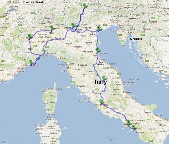 An italy road trip itinerary