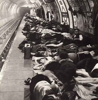 underground station in the blitz