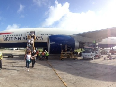 British Airways flight to Antigua